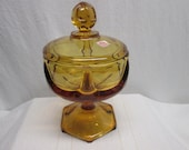 Viking Amber Glass Candy Dish, candy dish with lid,footed