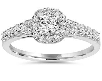 3/4CT Diamond Cushion Halo Engagement Ring 14K White Gold Size 4-9