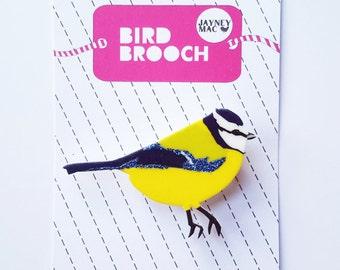 Bluetit Bird Shrink Plastic Brooch Pin