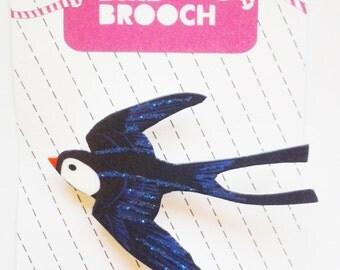 Swallow Bird Shrink Plastic Brooch Pin