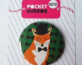 Fox Pocket Mirror- Gentleman fox with bowler hat