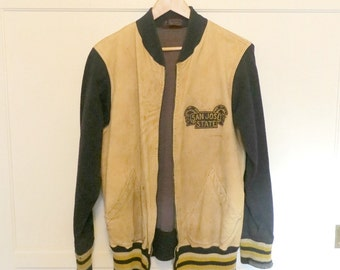 Vintage 40s 50s Reverse Letterman Jacket Cream Leather Navy Blue Wool San Jose State Varsity Team Sports Chain Stitched Mens Size Large