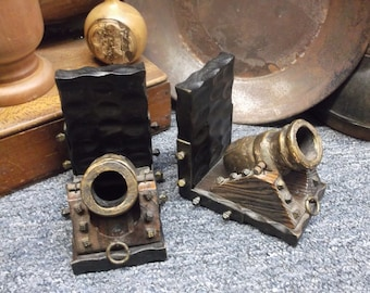 Primitive Pirate Castle Canon Bookends