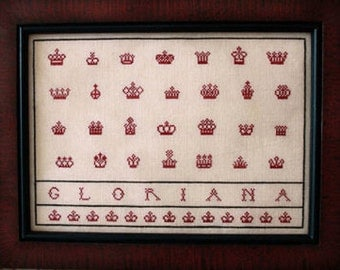 The Queen's Crowns : Plum Street Samplers cross stitch patterns Mother's Day Mom Mum Elizabeth hand embroidery