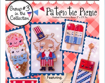 Patriotic Picnic 1 2 & 3 Yummy Stitches : Brooke's Books ALL 3 sets PDF cross stitch patterns 4th of July Summer embroidery