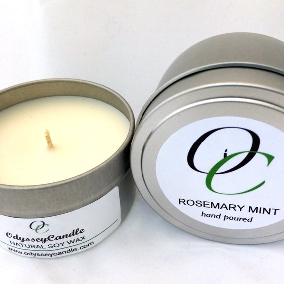 ROSEMARY MINT//Highly Scented SOY Candle 6oz Tin