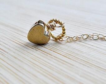 Gold Heart Necklace, Minimalist Bridesmaids Necklace, Love Necklace, Simple Mothers Necklace