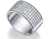 14K white gold 0.72ct Diamonds Semi-Eternity Band, Classic Estate 9.4mm  Flat Wedding Ring, Valentines Gift