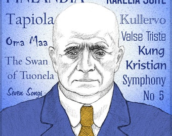 Jean SIBELIUS - a portrait art print of the great Finnish composer