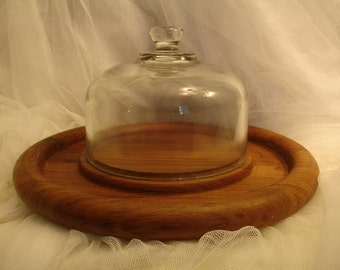 vintage glass cloche with teak wood platter, cheese platter, cake cover, art display cloche, cake dome, cheese dome