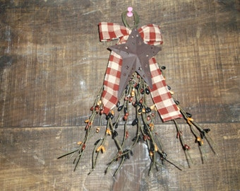 "9"" long pip swag with plaid bow and a rusty star on it primitive hanger"