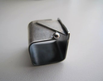 Silver Square wide  band ring ,wide band modern, simple, CIJ