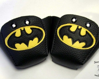 Black leather Roller Derby skate toe guards with Batman