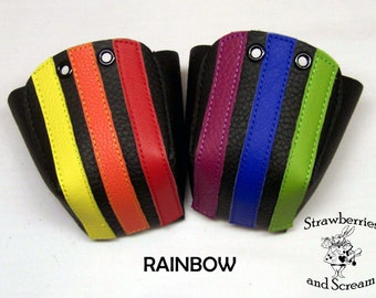 Black leather Roller Derby skate toe guards with Stripes