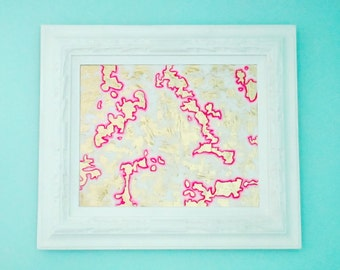 Gold, White, and Hot Pink Abstract Original Painting in Large, Heavily Carved, Vintage Frame