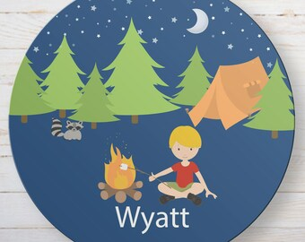 Personalized Kids Camping Melamine Plate - Custom Campfire Kid's Name Plate - Dinnerware