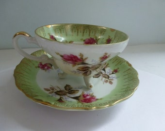 Antique Teacup and Saucer Antique China Footed Teacup and Saucer Made in Japan Nippon Yoko Boeki Co.