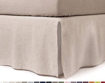 Linen bedskirt Queen bed skirt King bedskirt Twin or double custom length and color Split corner bedskirts