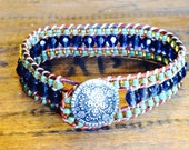 Blue and Green Leather Beaded Cuff Bracelet with Silver Button Clasp