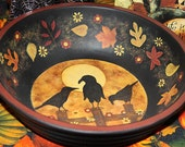 Folk Art Halloween Hand Painted Large Wooden Trick or Treat Bowl - MADE TO ORDER - Three Crows Sitting on a Fence in Moonlight Autumn Leaves