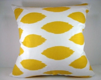 Yellow and White Ikat Decorative Accent Modern Pillow 18x18 Pillow Cover