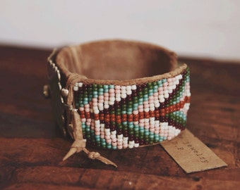 One of a kind, handmade adjustable repurposed vintage concho beaded cuff bracelet