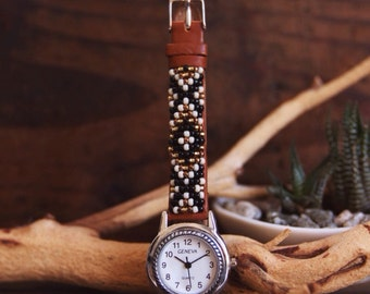 BLW-02, Native American inspired hand-beaded genuine leather watch