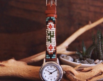 BLW-10,Native American inspired hand-beaded genuine leather watch