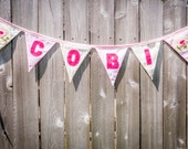 Personalized Name Banner with Birds, pink