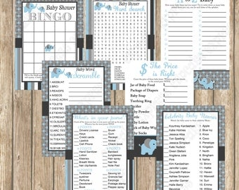 Baby Shower Games Pack Baby Boy Blue Elephant  Mommy to be  PRINTABLES   INSTANT Download bingo word find whats in your purse 1040