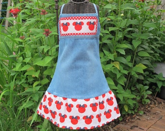 Disney Themed denim upcycle -6 only - Jumper - dress Mickey - Minnie - ready to ship