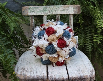 Rustic Americana Burlap Wedding Bouquet / Burlap and Lace Bridal Bouquet for your Vintage, Red White and Blue Primitive, Country Wedding