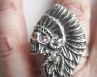 Native Chief Skeleton Ring ./. Cast Head Silver Ring ./. Silver Native Chief Ring ./. Skeleton Ring ./. Bague Folklorique ./. Made in Sweden