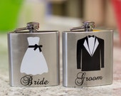 SALE. A set of Bride and Groom hip flasks, 6 ounce stainless steel personalized flask. Bridal gift, wedding gift, couples gift, fun wedding