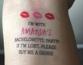 Bachelorette Party Temporary Tattoos, Buy Me A Drink & Bride Tattoo - Custom