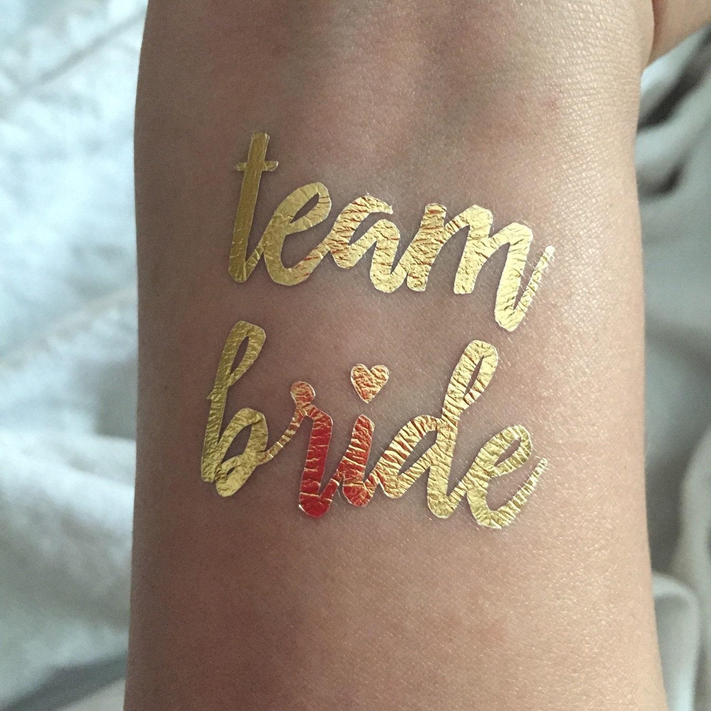 Gold metallic flash bachelorette party temporary tattoos team for Bachelorette party tattoos