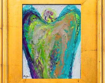Original Guardian Angel Painting - Oil Painting- Small Angel Painting- Expressionist Palette Knife Oil Painting by Claire McElveen