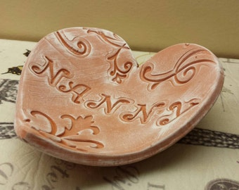 Handmade Pottery Mother's Day Rustic Heart Dish for Nanny