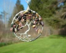 Tourmaline Tree of Life Necklace, Multi Colored Tree, Earth Day, Detoxifying Stone,Healing Gemstone, Pink Stone, Black Stone, Silver Tree,