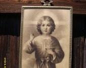Antique Vintage Metal Framed Sepia Print Religious Church Altar PIcture Print
