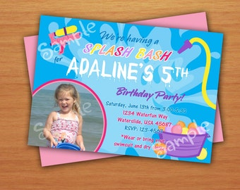 Pool Splash Water Birthday Party Invitation DIY with or without Picture