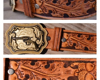 Gun Belt Vintage Hand Tooled Leather Country Western Shooting Handgun Rifle Hunting Cowgirl Cowboy Seventies Badass