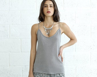SALE  50 Off SALE!Knitted Tank Top, Silver.