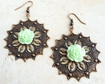 Green Flower Copper Earrings, Southwestern Mint Green Earrings