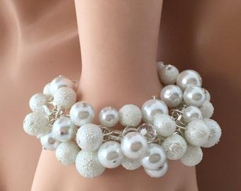 Chunky Pearl bracelet, Pearl and crystal jewelry, bridal jewelry, wedding jewelry, white pearl bracelet, textured pearls, rhinestones