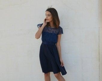 Blue bridesmaid dress knee length, lace top, lace blouse ,full circle skirt