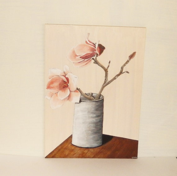 """Acrylic painting of Magnolia flowers in a grey tin vase, Pink flower stems, Original painting, 11.5 x 8.2"""""""