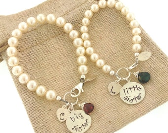 Big sister, little sister bracelets, new baby, sisters bracelets, Swarovski pearls, custom sisters bracelets