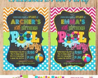 CHALKBOARD POOL PARTY invitation  - You Print