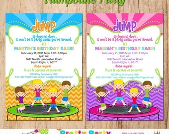 TRAMPOLINE PARTY invitation  - You Print